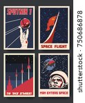 vector space posters. stylized... | Shutterstock .eps vector #750686878