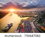 container ship in import export ...   Shutterstock . vector #750687082