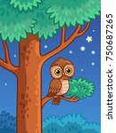 owl at night sit on a tree... | Shutterstock .eps vector #750687265
