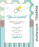 baby boy birthday invitation | Shutterstock .eps vector #75068908