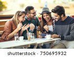 group of four friends having... | Shutterstock . vector #750695932