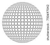 globe 3d sphere with ring mesh... | Shutterstock .eps vector #750697042
