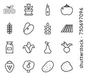 thin line icon set   bio ... | Shutterstock .eps vector #750697096