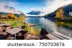 gorgeous autumn scene of... | Shutterstock . vector #750703876
