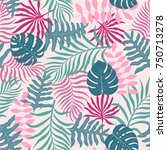 tropical background with palm... | Shutterstock .eps vector #750713278