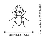 stag beetle linear icon. bug.... | Shutterstock .eps vector #750714982
