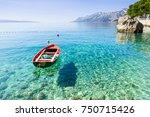 beautiful bay near brela town ... | Shutterstock . vector #750715426