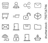 thin line icon set   shop ... | Shutterstock .eps vector #750716746