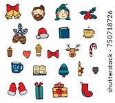 hand drawn xmas stickers... | Shutterstock .eps vector #750718726
