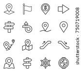 thin line icon set   pointer ... | Shutterstock .eps vector #750719008