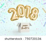 happy new year 2018 joy... | Shutterstock . vector #750720136