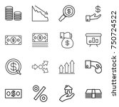 thin line icon set   coin stack ... | Shutterstock .eps vector #750724522
