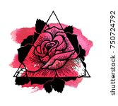 rose flower with sacred... | Shutterstock .eps vector #750724792