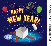 template of happy new year...   Shutterstock .eps vector #750730396