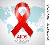 aids awareness red ribbon....   Shutterstock . vector #750730936