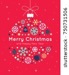 christmas card template with... | Shutterstock .eps vector #750731506