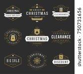 christmas sale badges  labels... | Shutterstock .eps vector #750731656