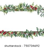 watercolor christmas floral... | Shutterstock . vector #750734692