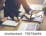 beautiful business couple is... | Shutterstock . vector #750736696