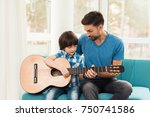 the father teaches his son to... | Shutterstock . vector #750741586