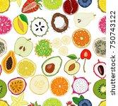 set of fresh hand drawn fruits...   Shutterstock . vector #750743122