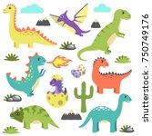 set of dinosaur icons... | Shutterstock .eps vector #750749176