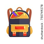 backpack for child with school...   Shutterstock .eps vector #750749278