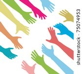 diverse people hands reach out... | Shutterstock .eps vector #75074953