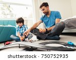 father and son compete in races ... | Shutterstock . vector #750752935
