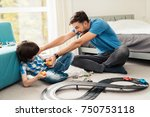 father and son compete in races ... | Shutterstock . vector #750753118