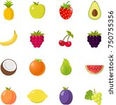 fruits fruit icon set flat...