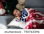 sick little child  boy  with... | Shutterstock . vector #750763396