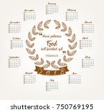 2018 calendar with bible quote...   Shutterstock .eps vector #750769195