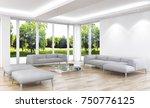 modern bright interiors. 3d... | Shutterstock . vector #750776125