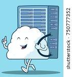 cloud tower server vector... | Shutterstock .eps vector #750777352