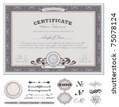 certificate or coupon template... | Shutterstock .eps vector #75078124