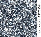 cartoon hand drawn nautical... | Shutterstock .eps vector #750793006