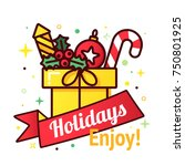 vector christmas gift box with...   Shutterstock .eps vector #750801925