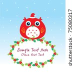 merry christmas owl doodle board | Shutterstock .eps vector #75080317