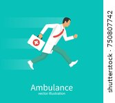 ambulance concept. doctor... | Shutterstock .eps vector #750807742