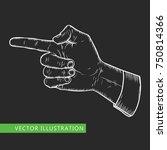 male finger way pointer. vector ... | Shutterstock .eps vector #750814366