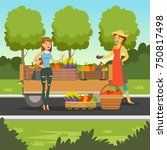 farmer woman selling fresh...   Shutterstock .eps vector #750817498