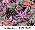 tropical seamless pattern with... | Shutterstock . vector #750822682