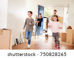 family carrying boxes into new... | Shutterstock . vector #750828265