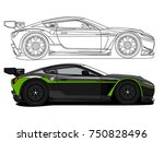 detailed side of a flat black... | Shutterstock .eps vector #750828496
