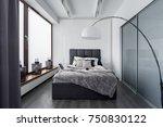 modern bedroom with floor lamp  ... | Shutterstock . vector #750830122