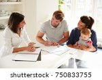 family with baby meeting... | Shutterstock . vector #750833755