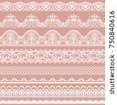 horizontally seamless pink lace ... | Shutterstock .eps vector #750840616