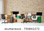 carton boxes with stuff in... | Shutterstock . vector #750842272