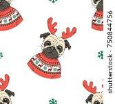 christmas pug doggy seamless... | Shutterstock .eps vector #750844756